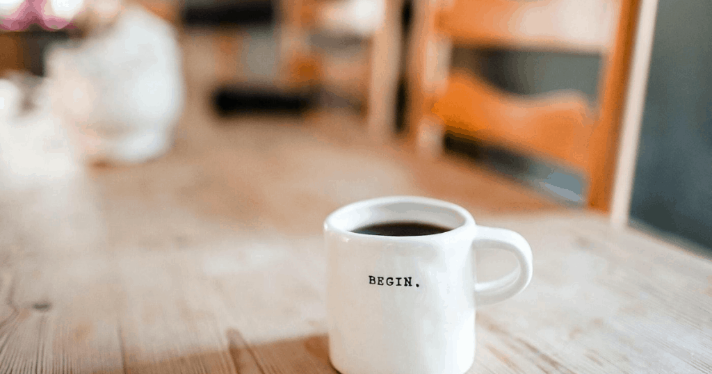 Coffee Cup with BEGIN on it